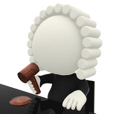 3D judge with a wig - isolated over a white background