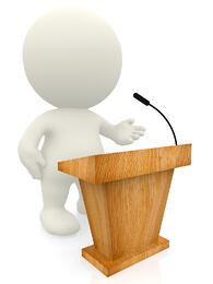 3D person standing by a lectern isolated over a white background